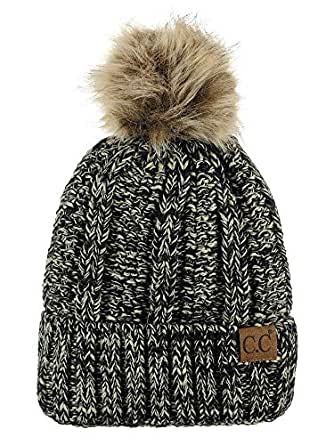 c25036f648 C.C Thick Cable Knit Faux Fuzzy Fur Pom Fleece Lined Skull Cap Cuff ...