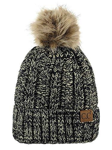 C.C Thick Cable Knit Faux Fuzzy Fur Pom Fleece Lined Skull Cap Cuff Beanie, 2 Tone Black/Dark Beige ()