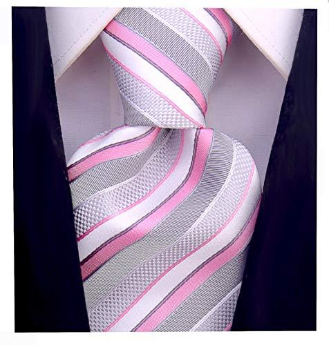 (Striped Ties for Men - Woven Necktie - Pink )