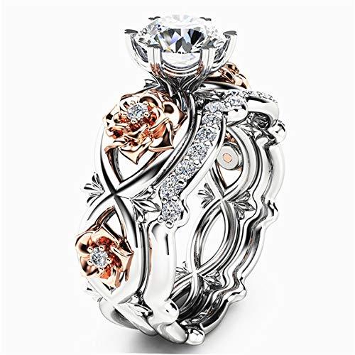 Bookear Women Silver & Rose Gold Filed White Wedding Engagement Floral Ring Set (10)