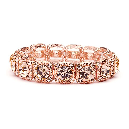 (Mariell Rose Gold Blush Crystal Stretch Prom or Bridesmaid Bracelet - Popular Pink Morganite)