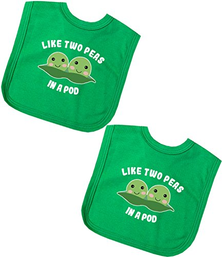 BabyPrem Baby Pack of 2 Bibs for Twins Like 2 Peas in a Pod Boy Girl Green - A Peas In Like Pod Two