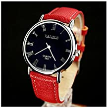 LinTimes Fashion Mens Womens Watch Quartz Analog Roman Numeral Scale Business Casual Wristwatch Red Band Black Dial