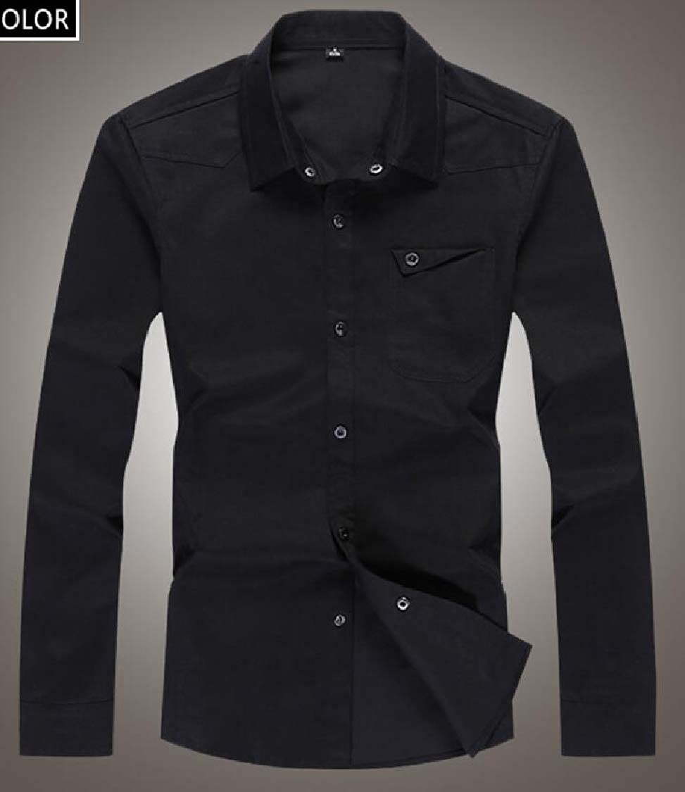 Pandapang Men Long Sleeve Pocket Lapel Neck Business Slim Button Down Shirts