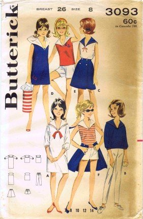Butterick 3093 Sewing Pattern Girls Sailor Dress Blouse Pants Wrap Skirt Shorts Size 8 ()