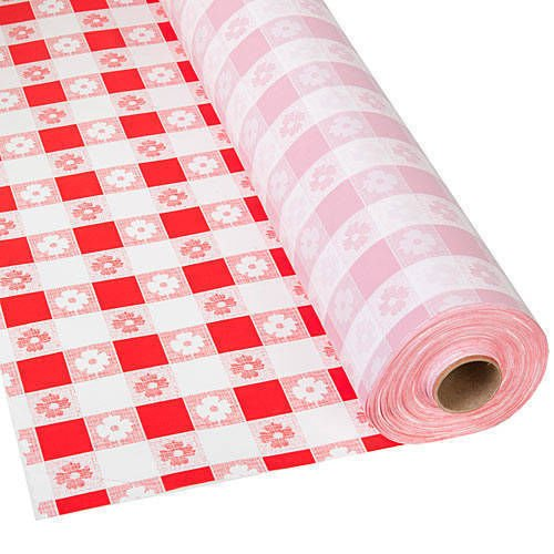 Schorin Plastic Party Banquet Table Cover Roll - 300 ft. x 40 in. - Disposable Vinyl Tablecloth (Red Gingham)