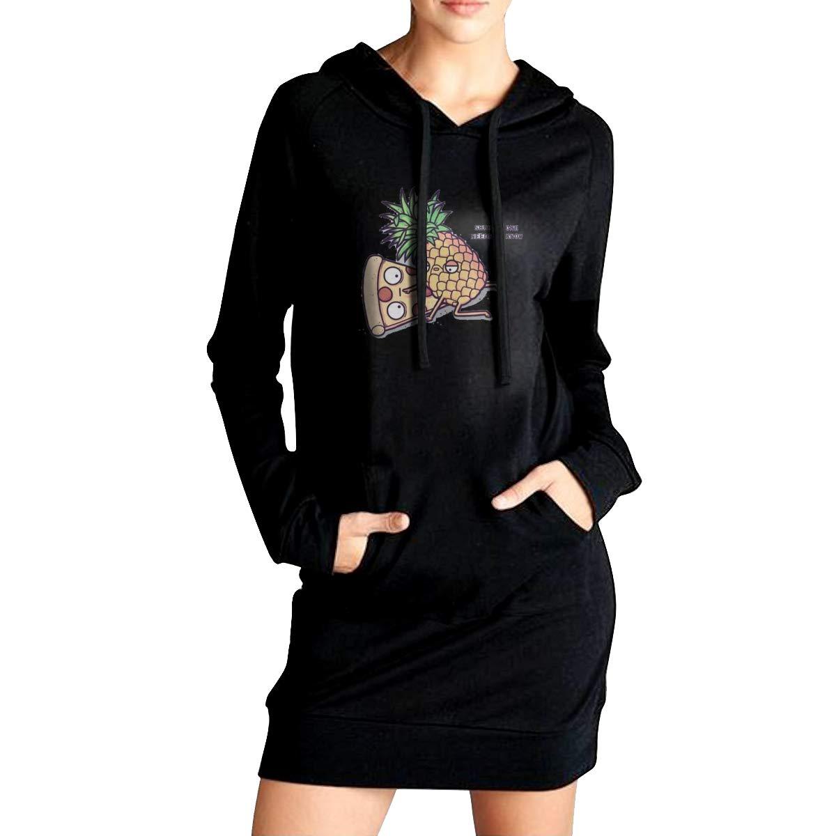 Northern Nebula Art Pizza Painting Womens Long Sleeve Hoodie Tunic Dress Solid Pullover Loose Sweatshirt Long Tops