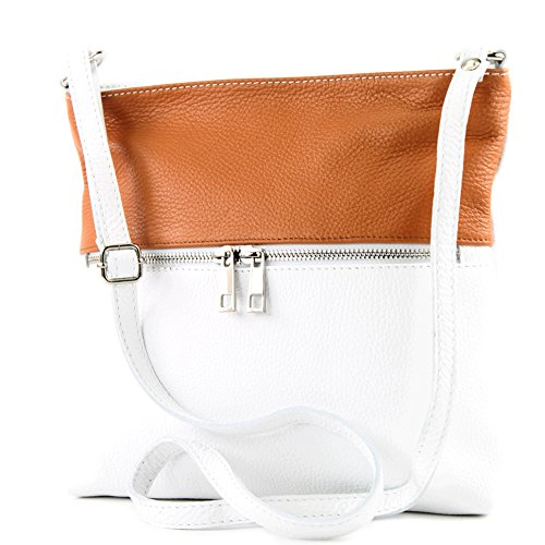 Shoulder Camel Bag Shoulder Leather Crossover Modamoda Ladies de Bag ital Leather White T144 Bag ABWq1a