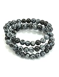 Paialco Snowflake Obsidian Gemstone Stretch Beaded Bracelet, Pack of 3