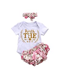 Newborn Baby Girl Outfit Clothes Romper Jumpsuit Bodysuit + Pants + Headband Set