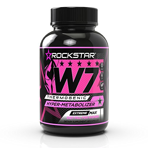 W7 Thermogenic Fat Burner, Weight Loss Pills for Women, Diet Pills by Rockstar, Carb Block & Appetite Suppressant, 60 Count by Rockstar