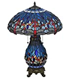 Tiffany Style Stained Glass Dragonfly Table Lamp Lit Base
