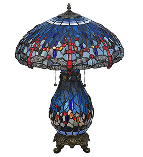 Stained Glass Tiffany Style Dragonfly Table Lamp/Lit Base Arrowhead Glass Table Lamp