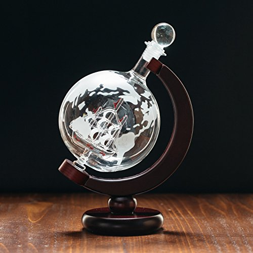 Large 50 Oz Handmade Etched Globe Decanter Set with Wooden Stand and Glass Ship inside, for Wine, Whiskey, Brandy, Tequila, Bourbon, Scotch, Rum and Liquor (with Funnel)