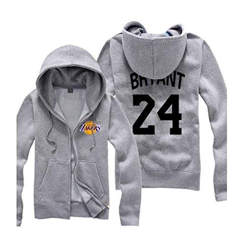NBA Los Angeles Lakers Kobe NO.24 Long Sleeve Hoodies Coat Grey M