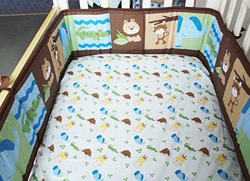 NAUGHTYBOSS Unisex Baby Bedding Set Cotton Primeval Forest Monkey Crocodile Animals Pattern Quilt Bumper Bedskirt Fitted Diaper Bag 8 Pieces Set by NAUGHTYBOSS (Image #6)