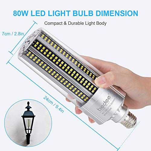 Bedee LED Light Corn Bulb 600W Equivalent, 80W LED Bulb Replacement with E26 & E39 Mogul Base 10,000LM 5000K, Daylight Indoor Outdoor LED Light Bulb, Super Bright for Commercial & Industrial Area