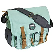 Onyx and Green 7801GR Messenger Bag, Made from Ramie Leaf and Jute Plant Blend