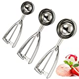 MAGICYOYO Ice Cream Scoop Trigger, 3 PCS Metal Cookie Scoop Melon Baller, Heavy Duty Premium 18/8 Stainless Steel Spoon Scoopers, with Large Medium Small Size Balls, Elegant Gift Box