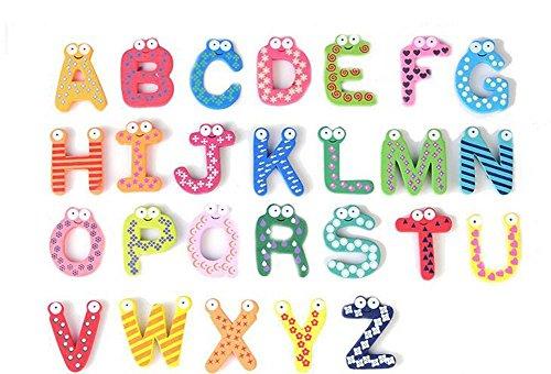 1Set(26PCS) Wooden Alphabet Letter Fridge Stickers-A-Z Early Education Paste Magnet Cartoon Toys For Kids