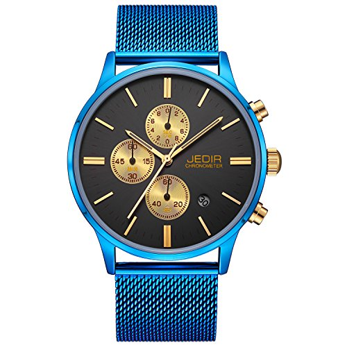 (JEDIR Men Watch Fashion Chronograph Wristwatches Black Analog Dial Date Display with Blue Stainless Steel Mesh)