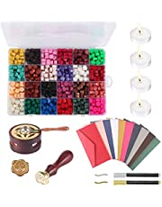 Verdelife Wax Sealing Lacquer,Octagonal Sealing Wax Rods,Wax Bead Sealing Wax Parts Retro Paint Sealer With Wax Casting Spoon (24 Colors)