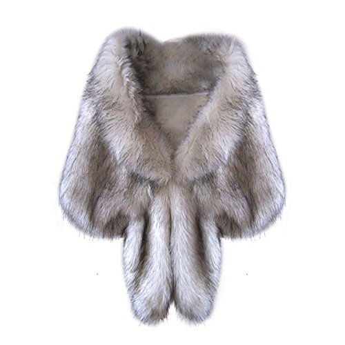 Fedi Apparel Women's Warm Faux Fur Cony Short Wedding Party Show Cape Shawl (Fox) by Fedi Apparel