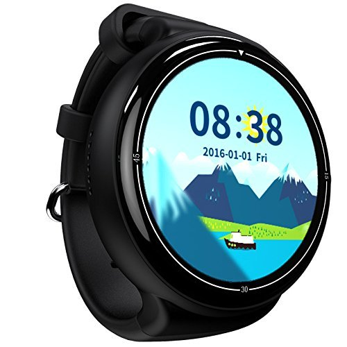 SHENGMO i4 AIR Smart Watch RAM 2GB ROM 16GB 2MP Camera Android 5.1 3G WIFI GPS Google Play Heart Rate Monitor For Iphone LG Samsung HTC (black)