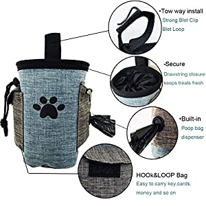 Pet Treat Pouch Dog Training Bag with Belt Carries Pet Toys Kibble Treats Sport Running Drawstring Waist Bag Poop Bag Dispenser (beige)