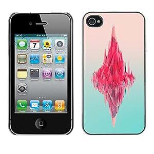 Qstar Arte & diseño plástico duro Fundas Cover Cubre Hard Case Cover para Apple iPhone 4 / iPhone 4S / 4S ( Iceberg Pink Ocean Neon Art Deep Blue)