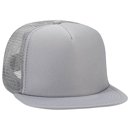 Mesh 5 Panel Back - OTTO SNAP Round Flat Visor High Crown Mesh Back 5 Panel Trucker Snapback - Gray