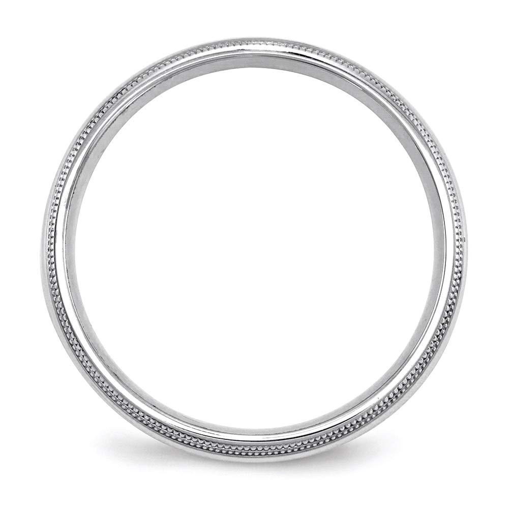Lex /& Lu 10k White Gold 5mm Double Milgrain Comfort Fit Band Ring