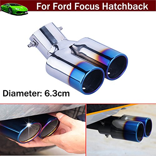 Car Double Outlets Chrome Stainless Steel Exhaust Rear Tail Pipe Tip Tailpipe Muffler Blue Color Custom Fit for Ford Focus Hatchback 2012 2013 2014 2015 2016 2017 2018 2019 2020
