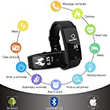Sanwo-Activity-Tracker-Sweatproof-Fitness-Watch-with-Heart-Rate-Monitor-Alarm-Clock-Wristband-Blood-Pressure-Sleep-Smart-Band-Calorie-Bracelet-Pedometer-for-Ipones-and-Android-Black