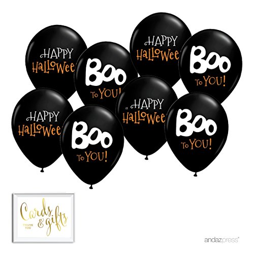 Andaz Press Printed Latex Balloon Party Kit with Gold Cards & Gifts Sign, Halloween Boo to You, 8-Pk ()