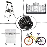 Etronic Bike Lock M8, Cable Lock 6 Feet Long Coiled Security Resettable Combo Combination Lock Bicycle Lock with Mounting Bracket