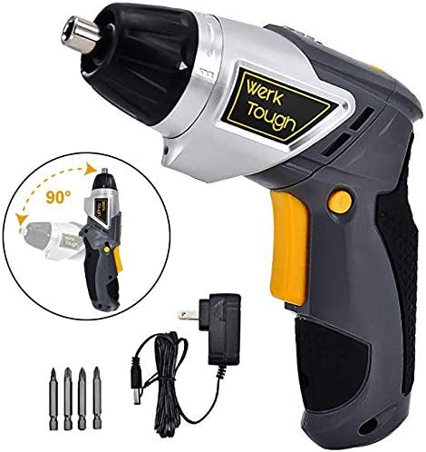 Werktough Cordless Screwdriver 3.6 4V Drill Driver Swivel Handle Rechargeable Lion Battery with LED Light Home Repair Set