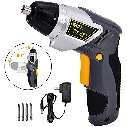 Werktough Cordless Screwdriver 3.6/4V Drill Driver Swivel Handle Rechargeable Lion Battery with LED Light Home Repair Set