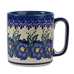 Boleslawiec Style, Traditional Polish Pottery, Handcrafted Ceramic Barrel Mug (400 ml /14 fl oz), Pattern, Q.201.PANSY