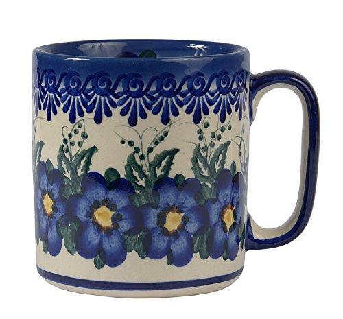 Boleslawiec Style, Traditional Polish Pottery, Handcrafted Ceramic Barrel Mug (400 ml /14 fl oz), Pattern, Q.201.PANSY