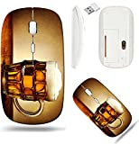 Liili Wireless Mouse White Base Travel 2.4G Wireless Mice with USB Receiver, Click with 1000 DPI for notebook, pc, laptop, computer, mac book IMAGE ID: 16374264 Beer mug on rustic wooden table