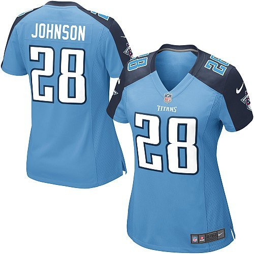 NIKE Replica Chris Johnson Jersey Light Blue 28 Womens Color Tennessee Titans Game NFL size Large
