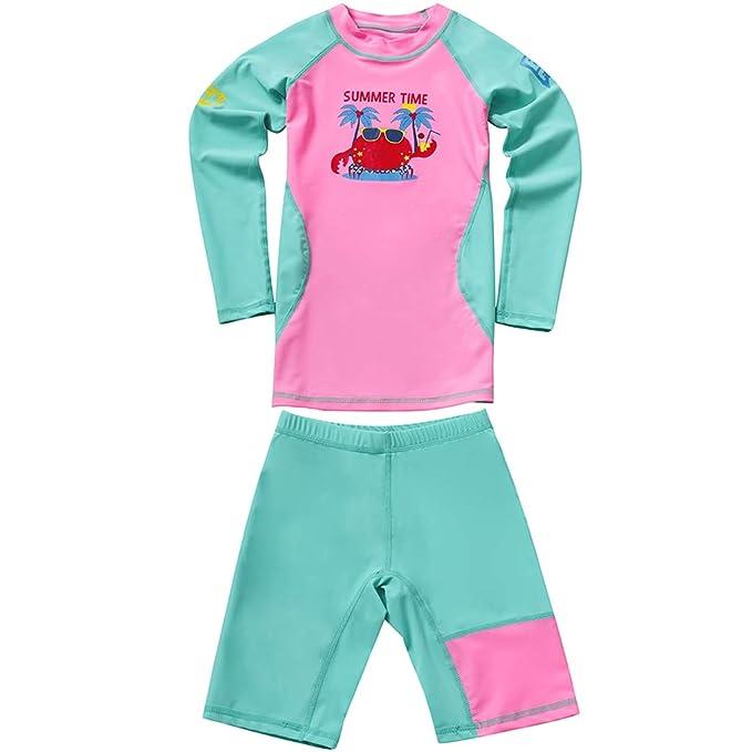 90f99ea2a Niños Niñas Traje de Neopreno - Traje de baño Dos Piezas Manga Larga  Proteccion Solar UV 50+ Niñito Bodysuit Guardia de Erupción Playa Bebé  Piscina: ...