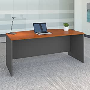 Bush Business Furniture Series C 72W x 36D Bow Front Desk in Auburn Maple