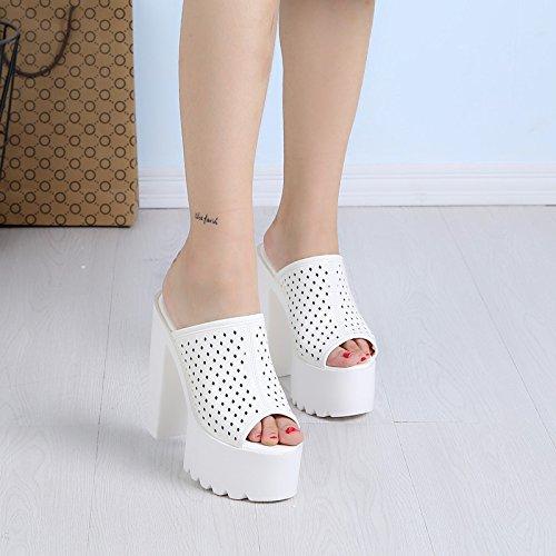 cm de alto y tacon Blanco dedos en verano super de Nueva zapatillas 15 XiaoGao cool pxEFt