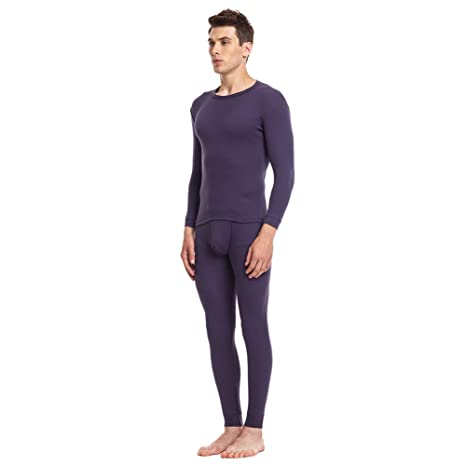 Mens 100% Cotton Thermal Underwear Long Johns Sets Ultra Soft 2 pcs Top and Bottom