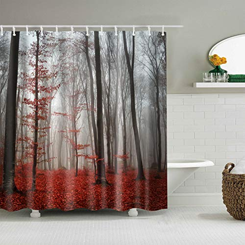 Hibbent Mystic Forest Home Woodland Decor Shower Curtain - Red Leaves Trees Modern Art Flower Rainy Foggy Fall Morning Gray Scene Print Waterproof Polyester Fabric Bath Curtain - 72 x 72 Inch