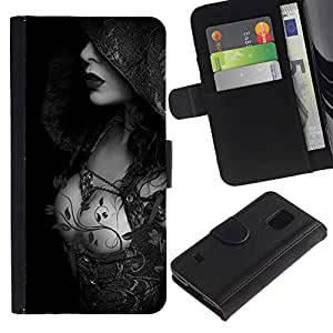 iBinBang / Flip Funda de Cuero Case Cover - Hood Lady Breast Black White - Samsung Galaxy S5 V SM-G900