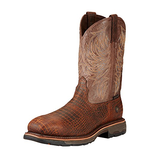 Ariat Men's Workhog Wide Square Composite Toe Work Boot, Brown Croco Print/Dark Chocolate, 10.5 D US