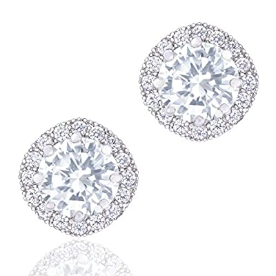 Orrous Co Premium 18k Cubic Zirconia Earrings - Beautiful White Gold Plated Studs - 1.90 Carats Round Cut Cubic Zirconia - Cashion Shaped Gemstone Halo - Beautiful and Elegant Present Idea